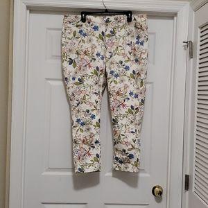 J Jill Denim floral slim ankle cropped jeans pants